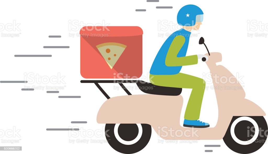 food delivery with motorcycle stock photo