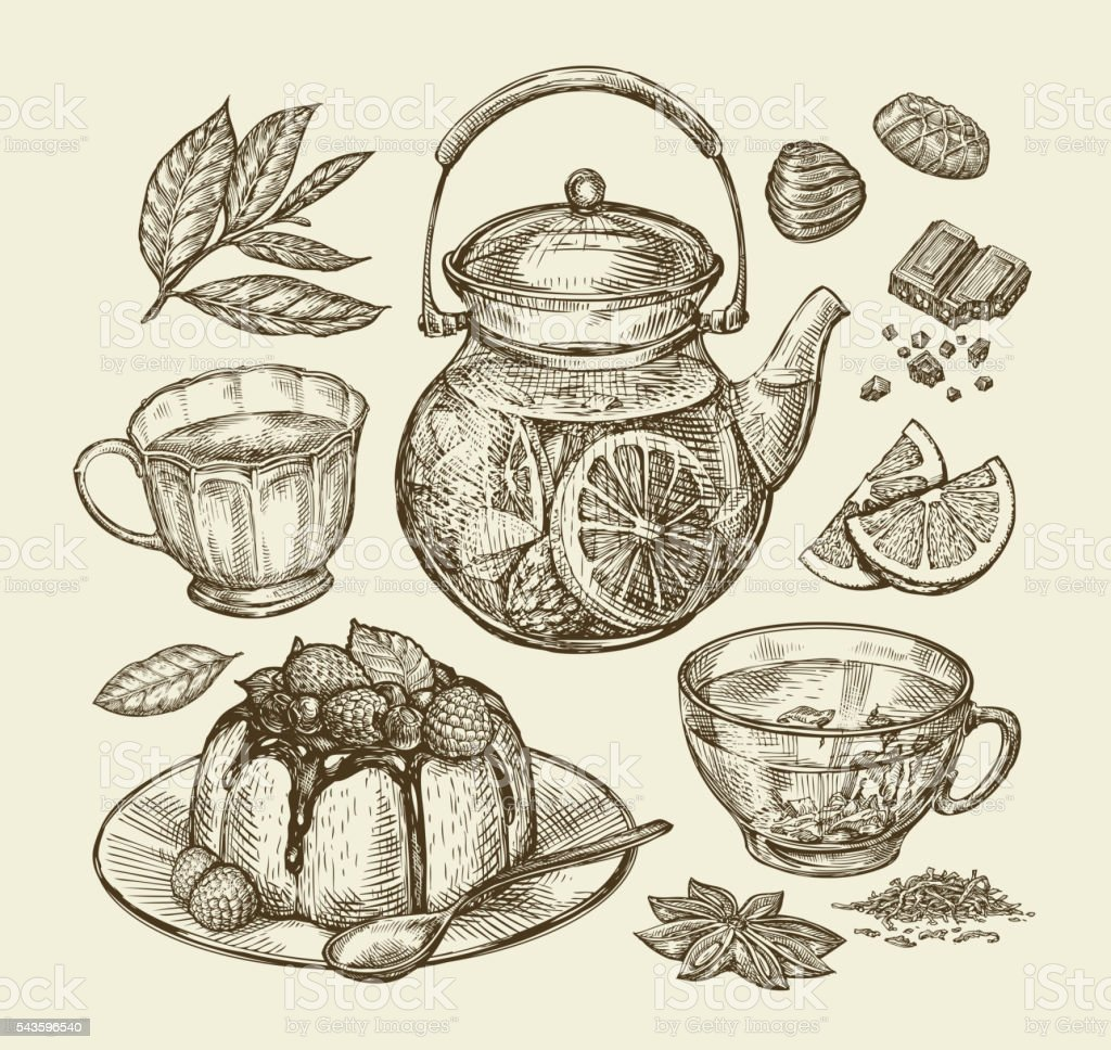Food, dessert, drinks. Hand drawn teapot, tea, coffee, cup, pie vector art illustration