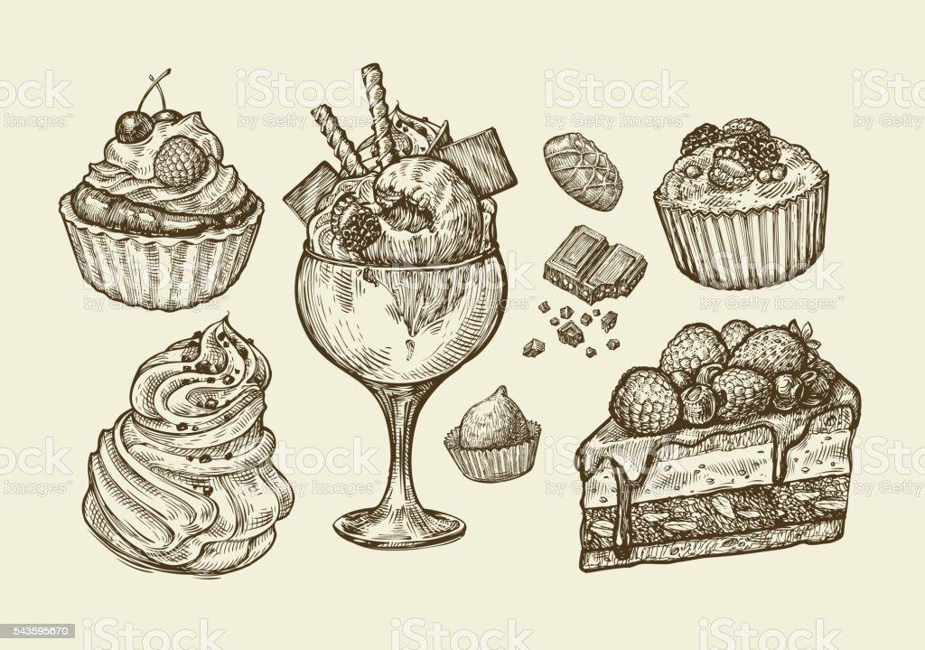 Food, dessert. Hand drawn ice cream, meringue, cupcake, chocolate, piece vector art illustration