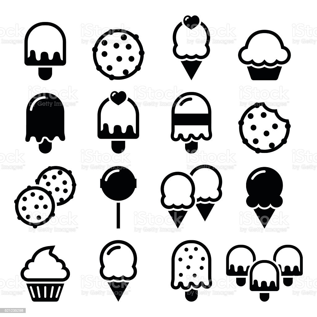 Food, desserts icons - cupcake, ice-cream, cookie, lollipop vector art illustration