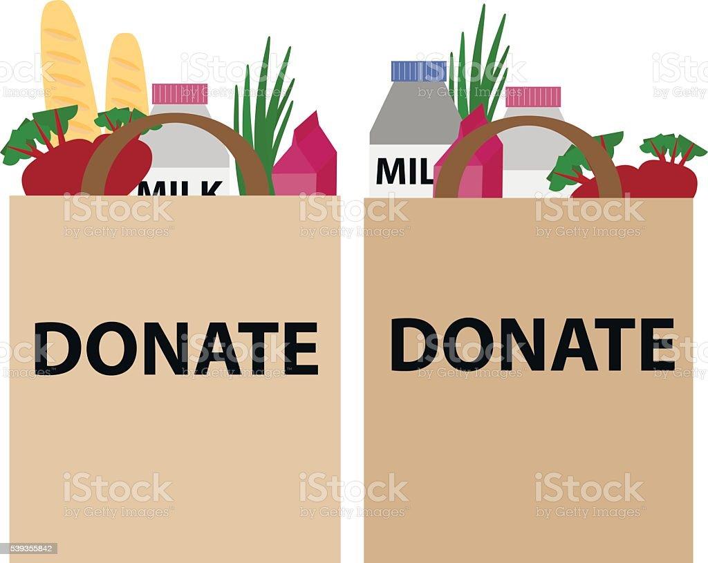 Food donation papper bag vector art illustration