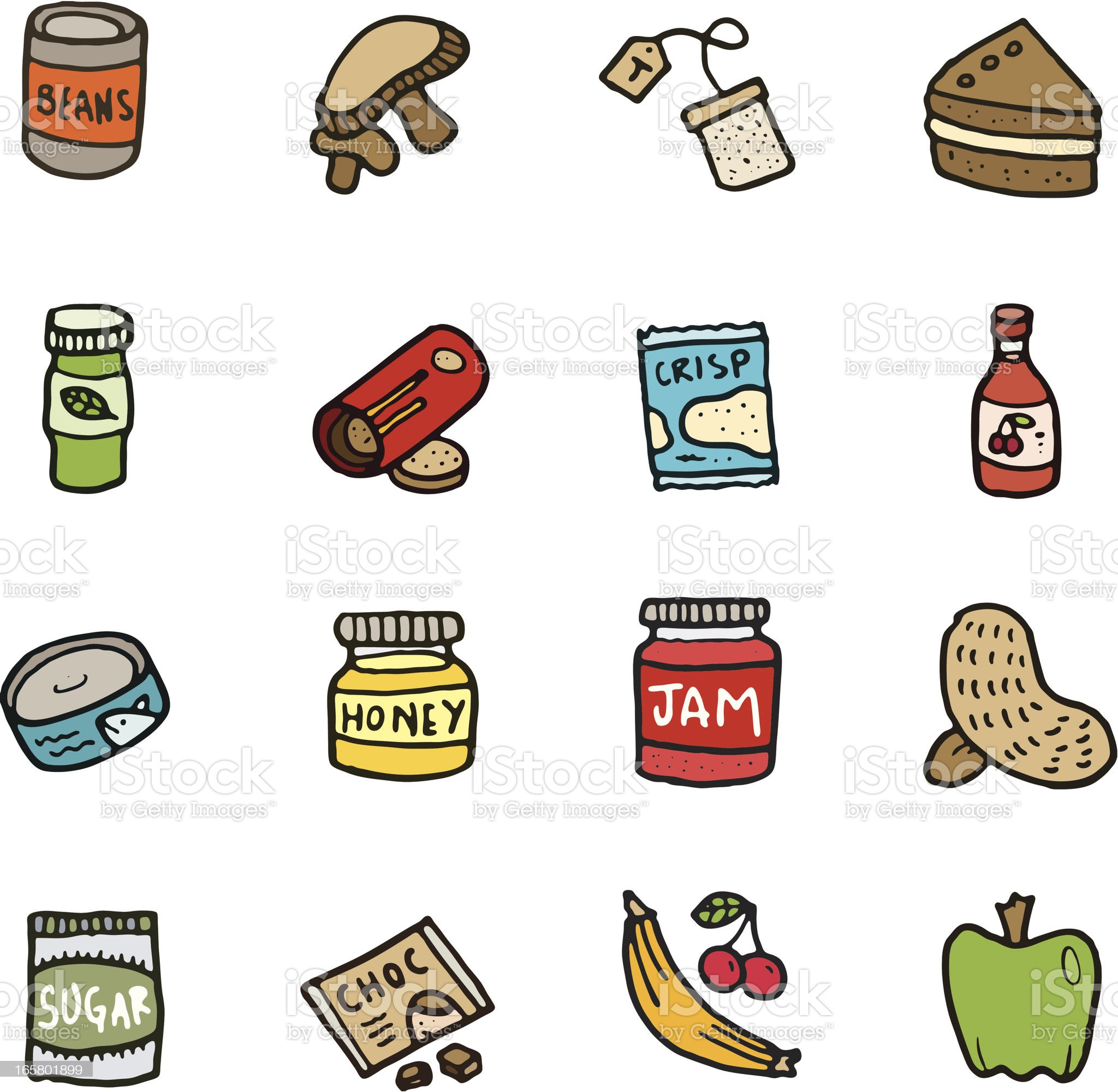 Food doodle icon set royalty-free stock vector art
