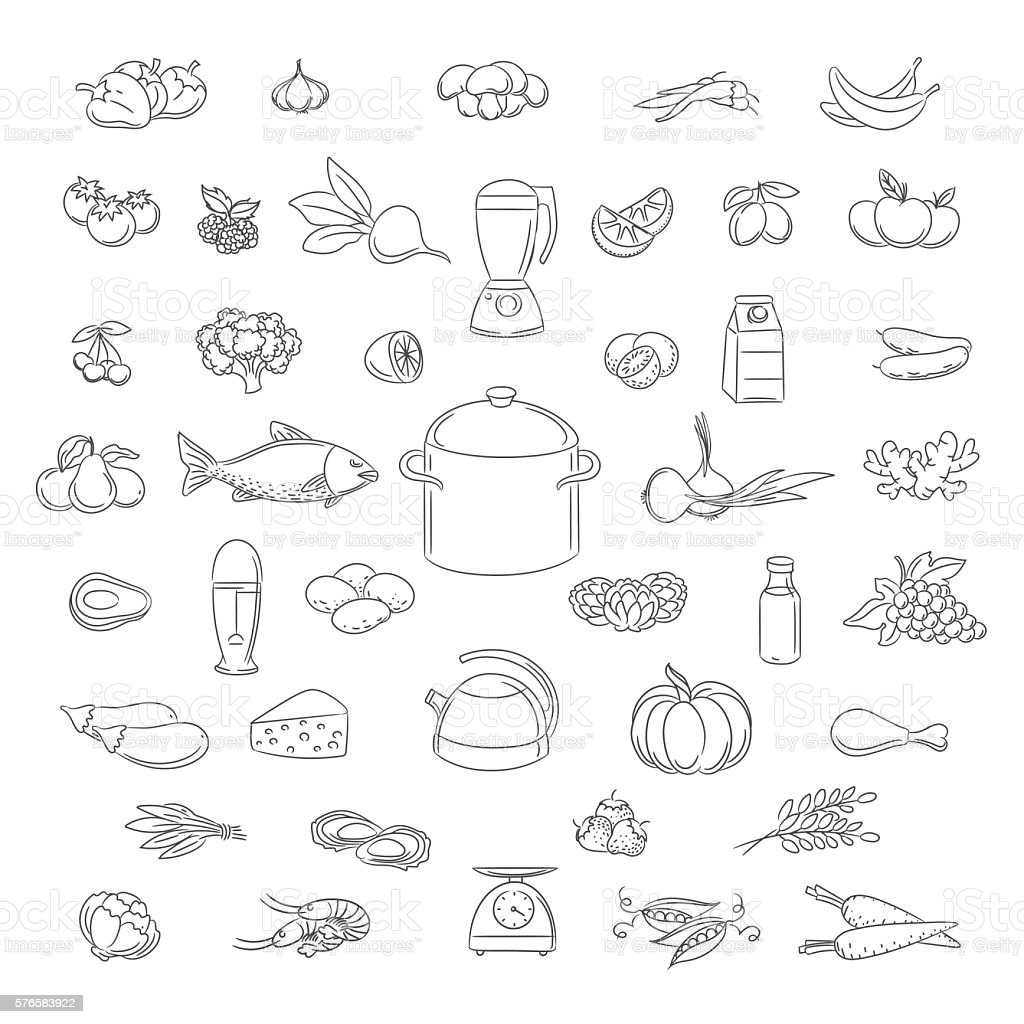 Food doodle icons set vector art illustration