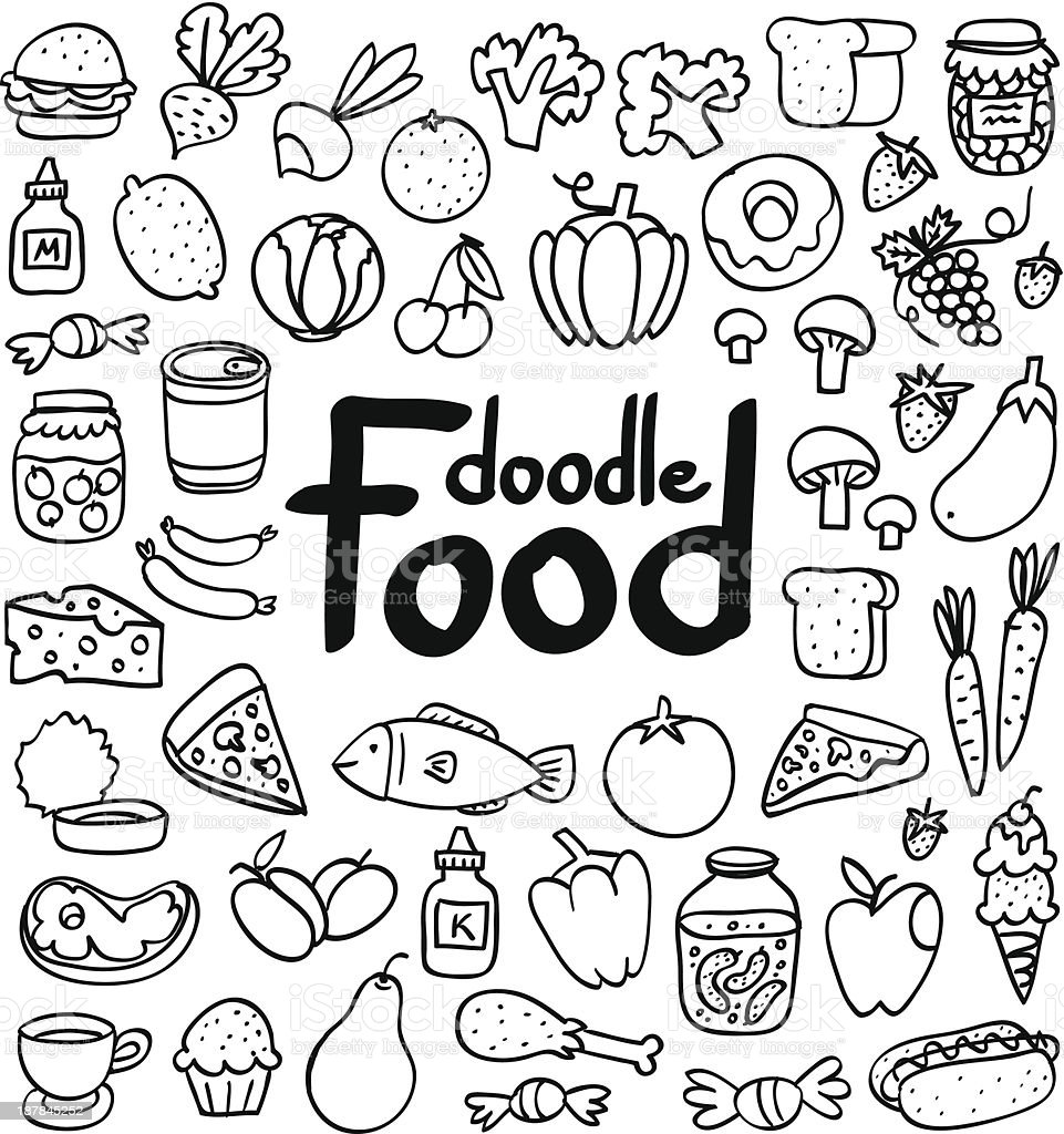 Food doodle vector art illustration