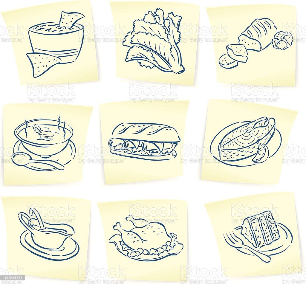 Food Doodles on Sticky Notes vector art illustration