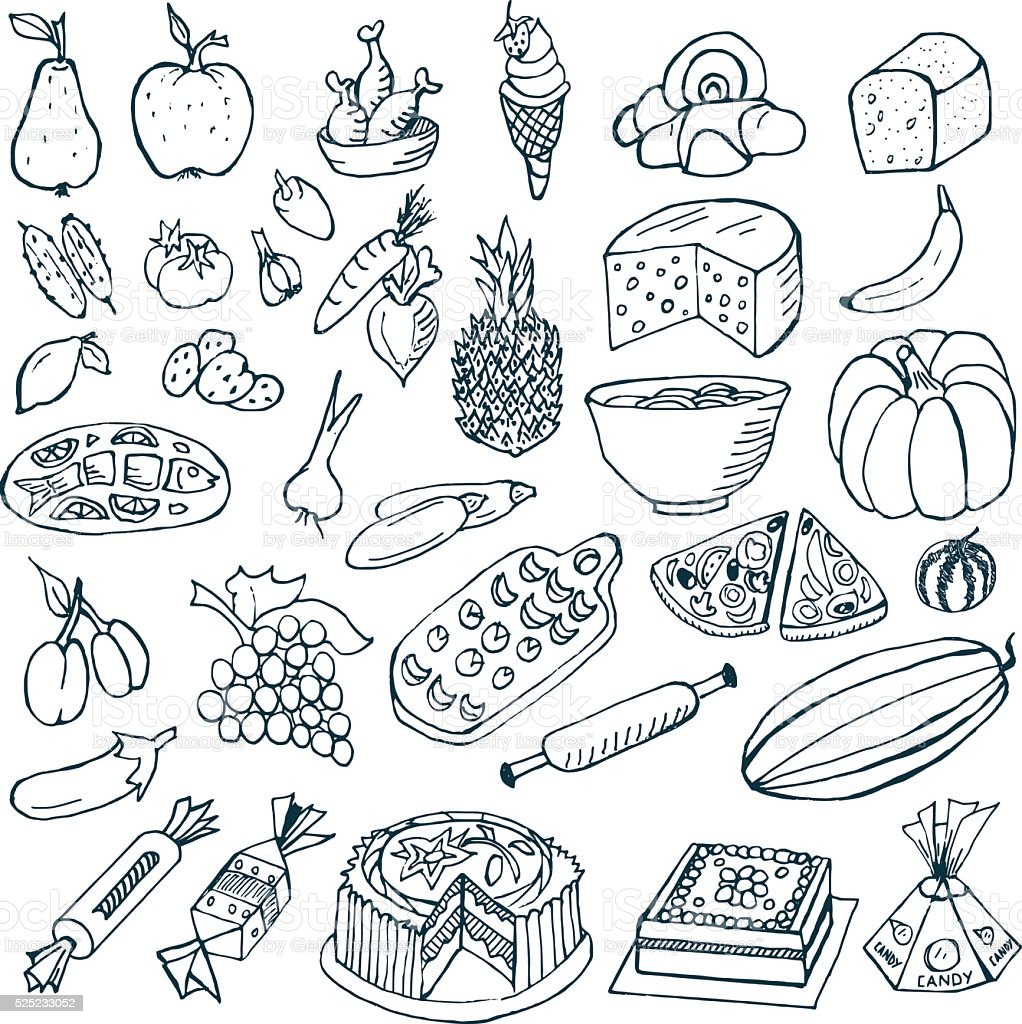 Food Doodles vector art illustration