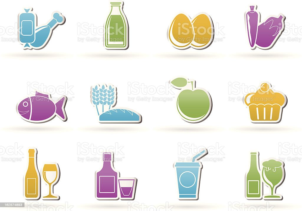 Food, drink and Aliments icons royalty-free stock vector art