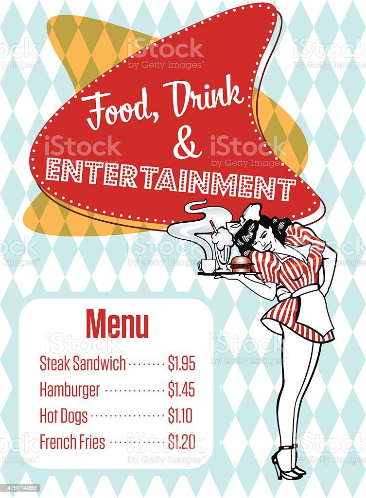 Food, Drink And Entertainment Diner Menu Vector Art vector art illustration