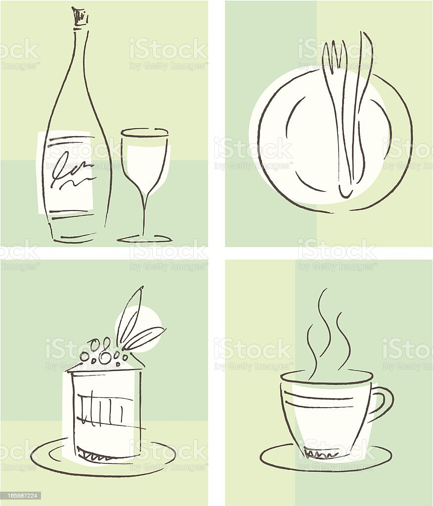 Hand drawn food & drink related icons. Zip contains AI CS2 and CMYK...