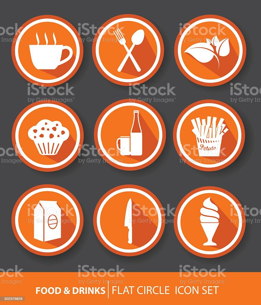 Food & drinks buttons,Orange version,vector vector art illustration