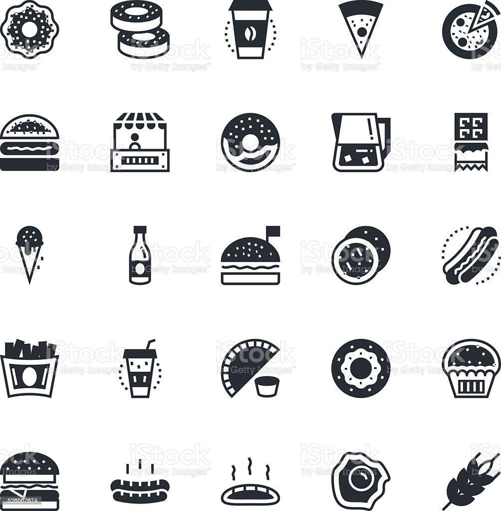 Food, Drinks, Fruits, Vegetables Vector Icons 1 vector art illustration