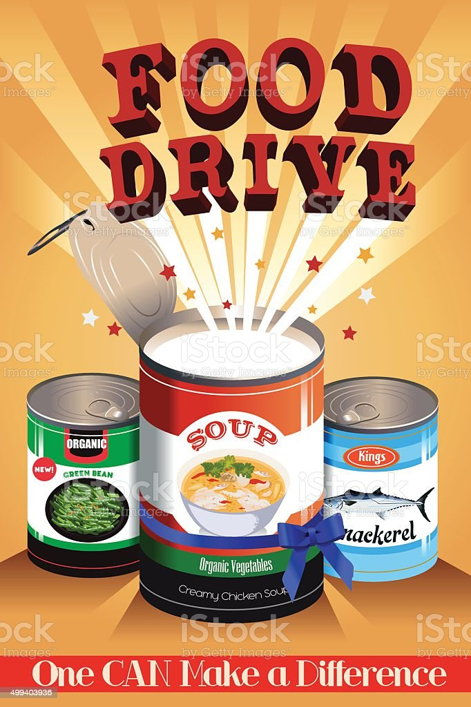 Food Drive Poster vector art illustration