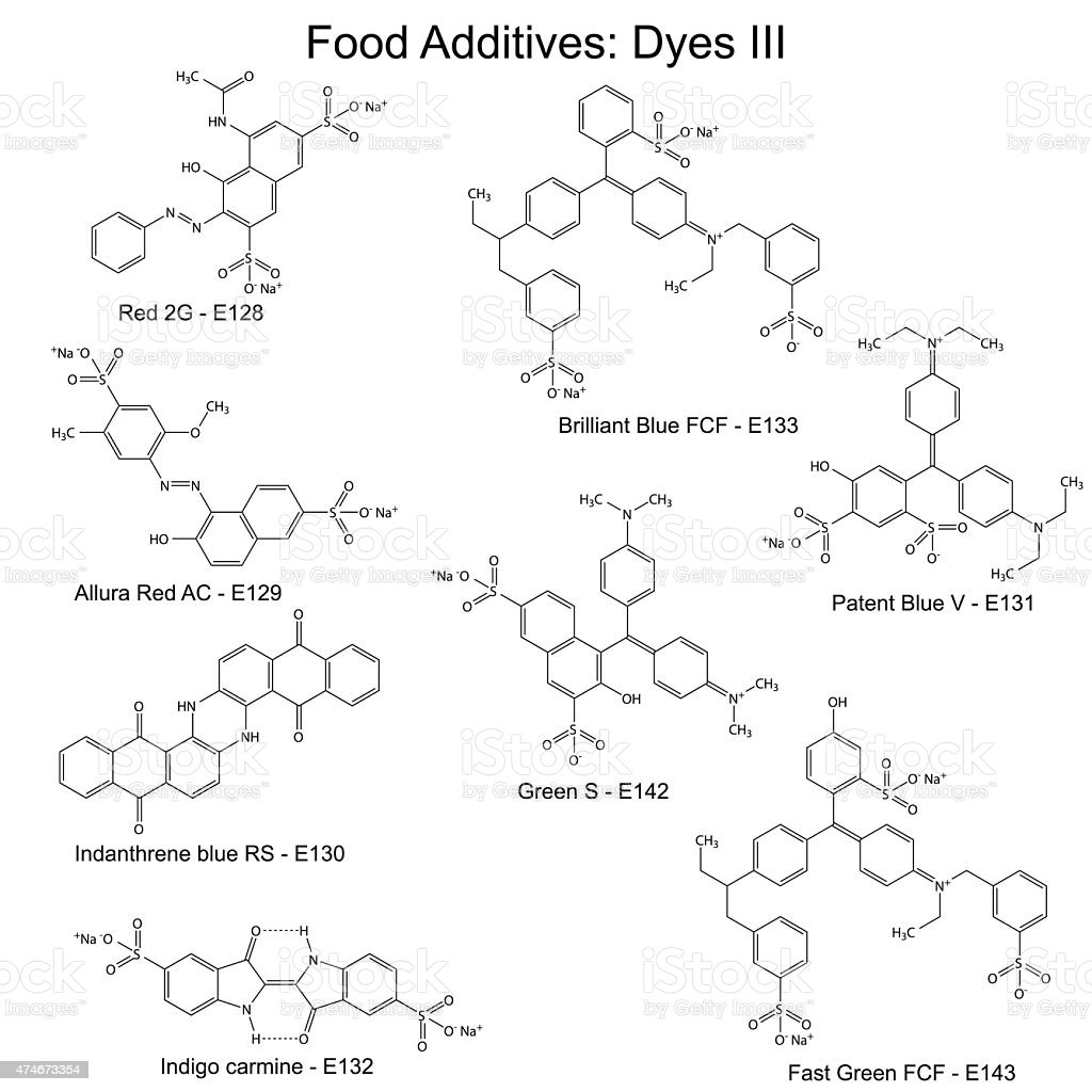 Food dyes - structural chemical formulas of food additives vector art illustration