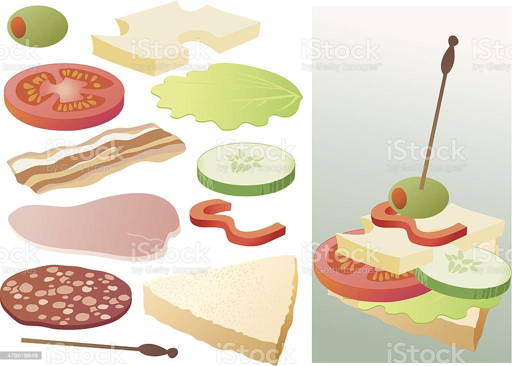 Food elements 1 vector art illustration