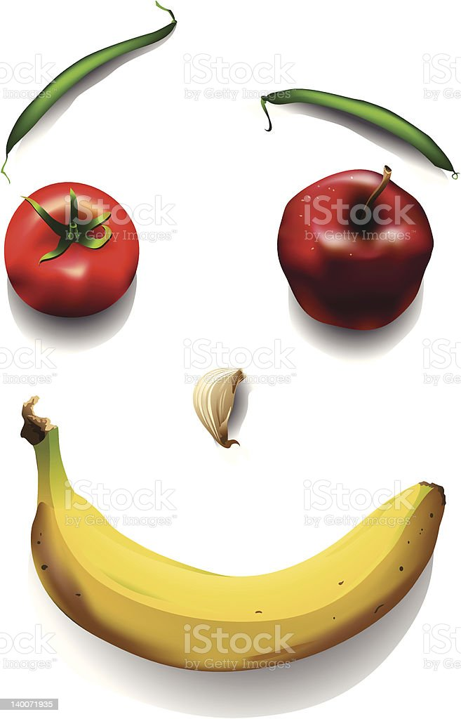 Food Face vector art illustration