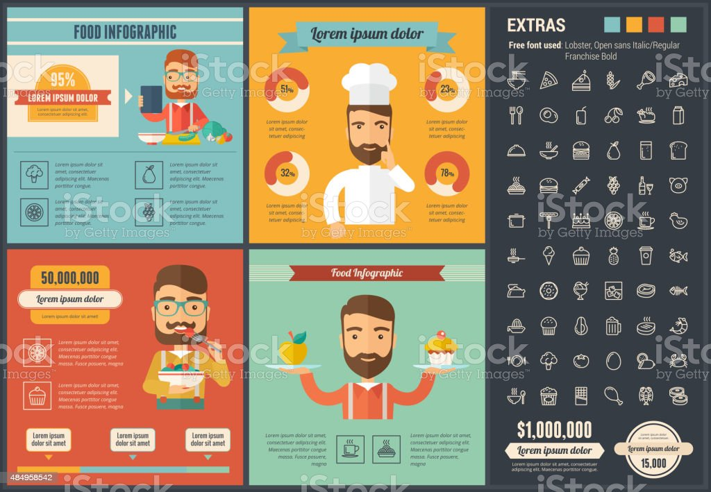 Food flat design Infographic Template vector art illustration