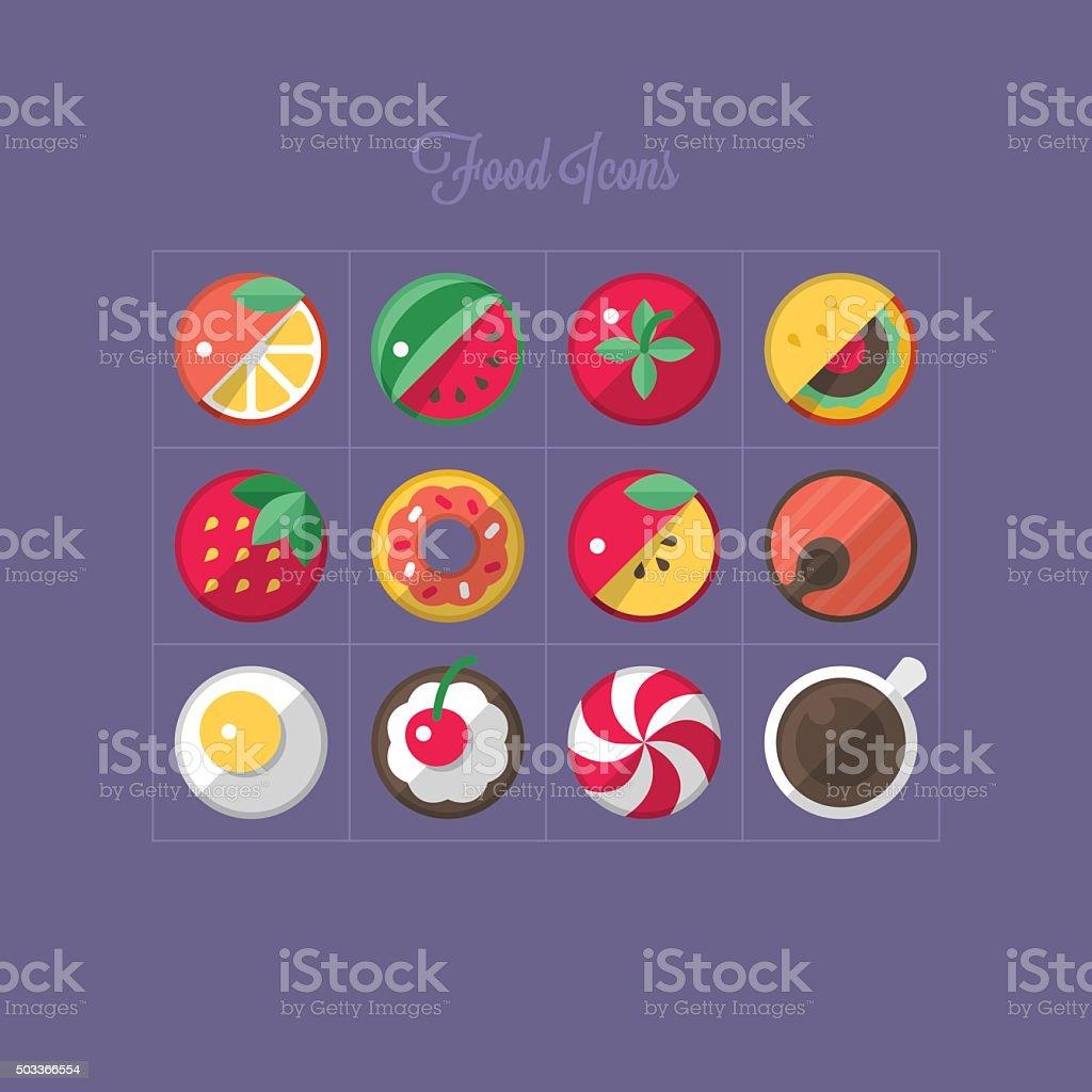 Food flat icons design vector art illustration