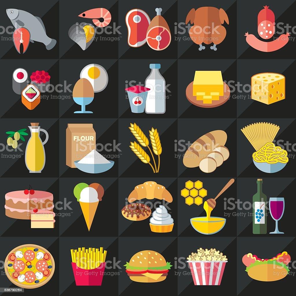 Food flat icons set vector art illustration