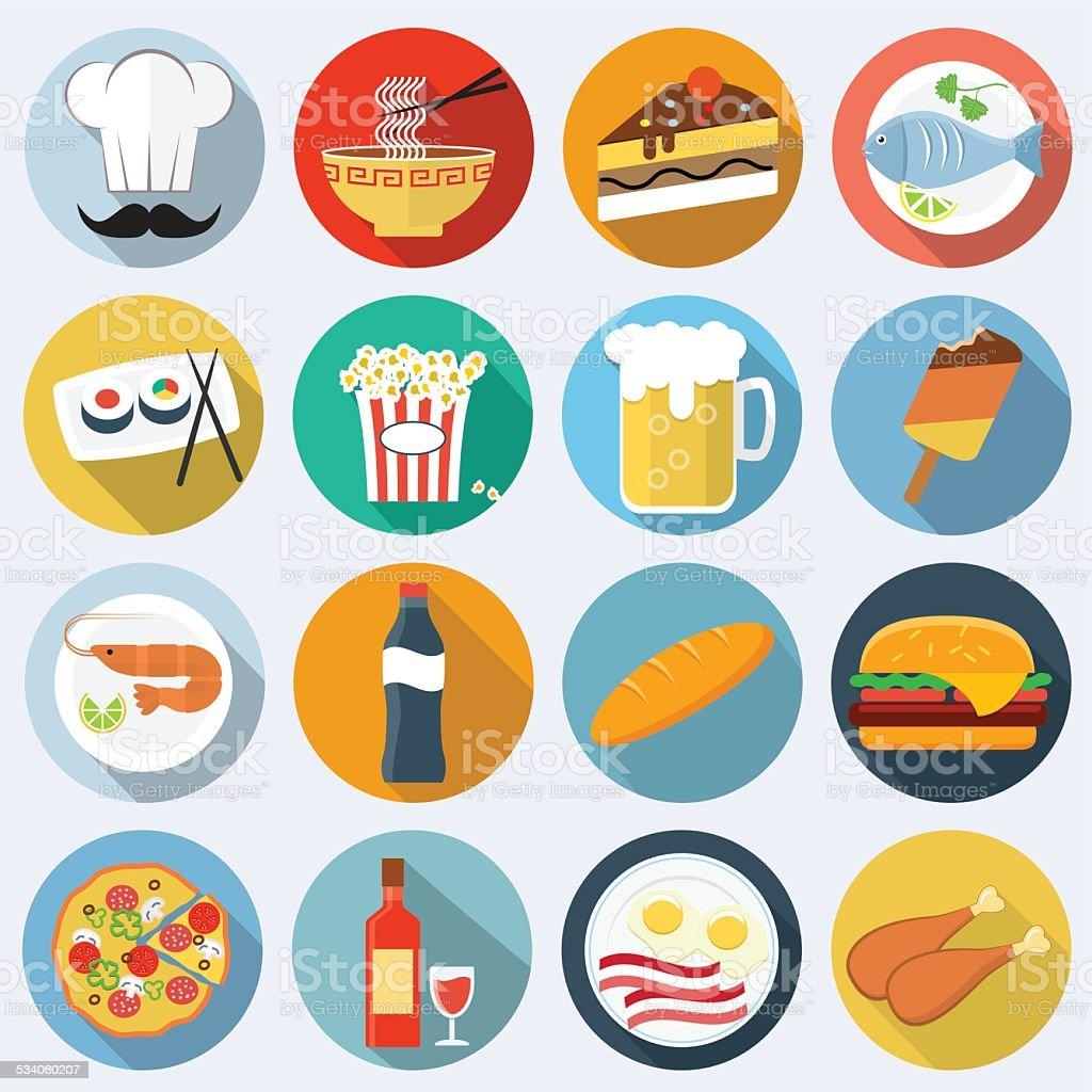 Food flat icons vector art illustration