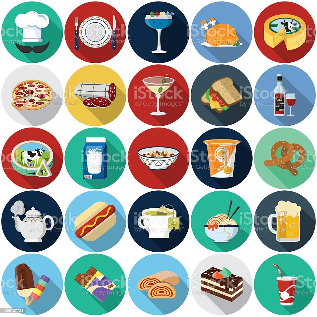 Food Flat Icons vector art illustration