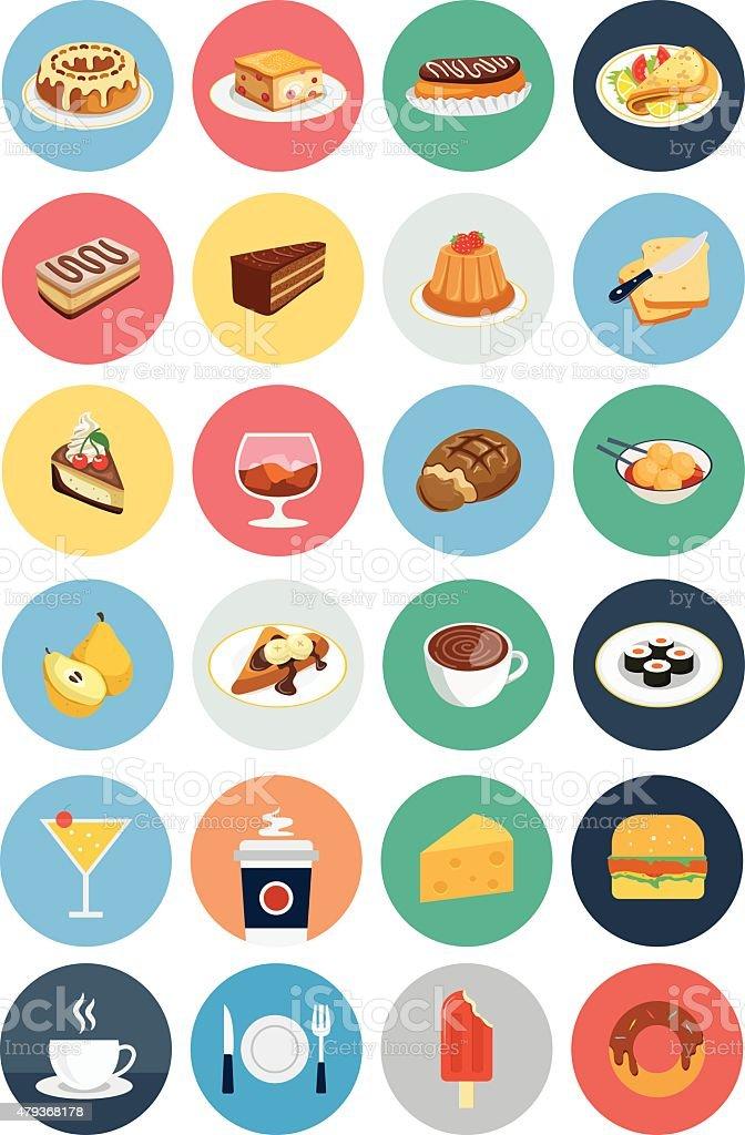 Food Flat Vector Icons 1 vector art illustration