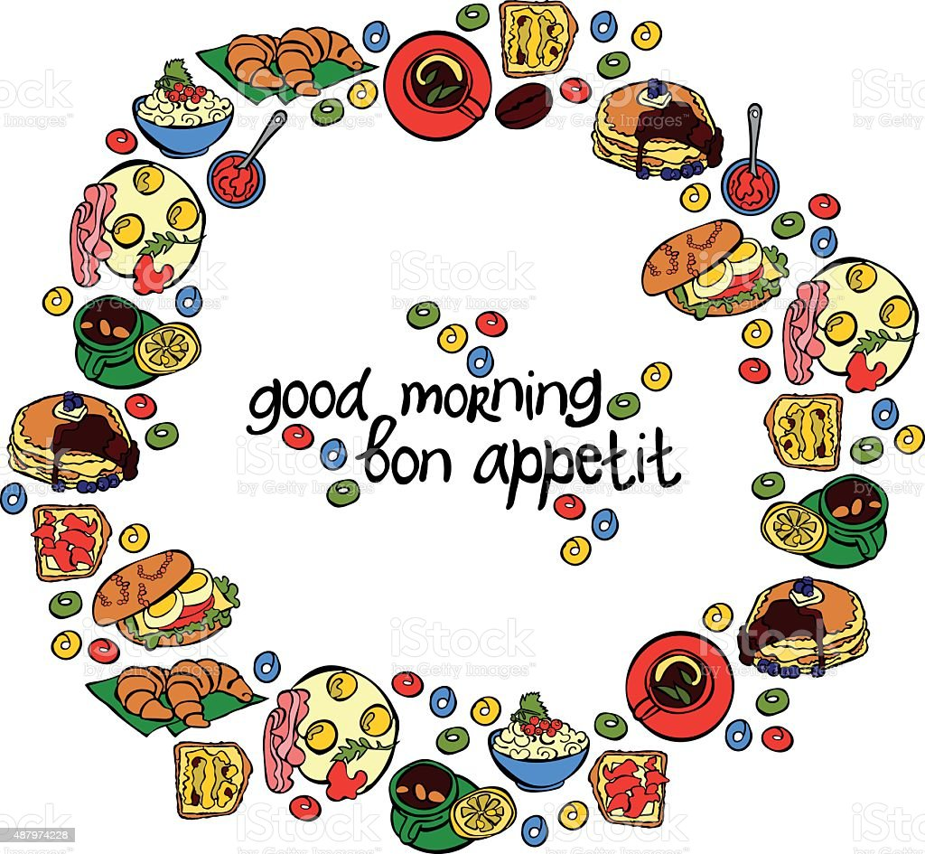 Food for breakfast. Bacon and eggs. Coffee. Baking. Porridge. vector art illustration