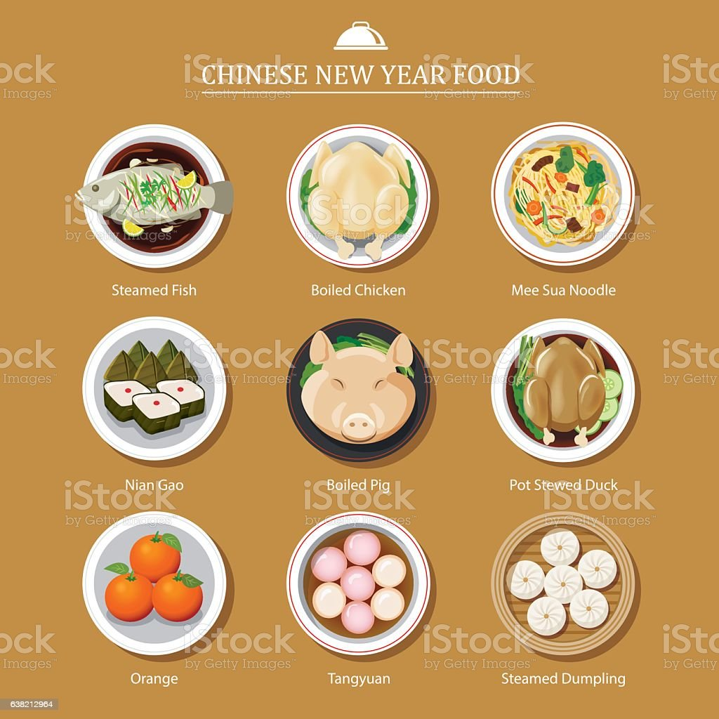 food for chinese new year vector art illustration