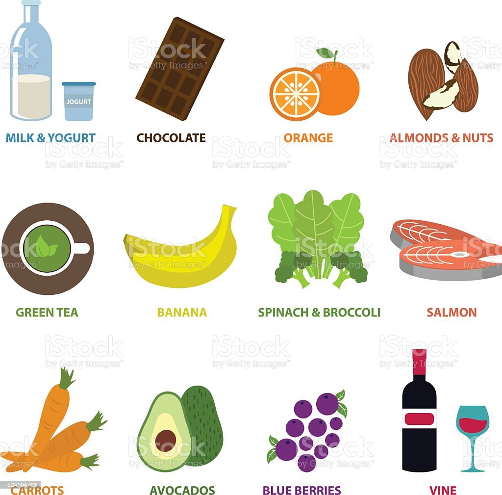 Food for Reduce Stress ,Vector Infographic Elements vector art illustration