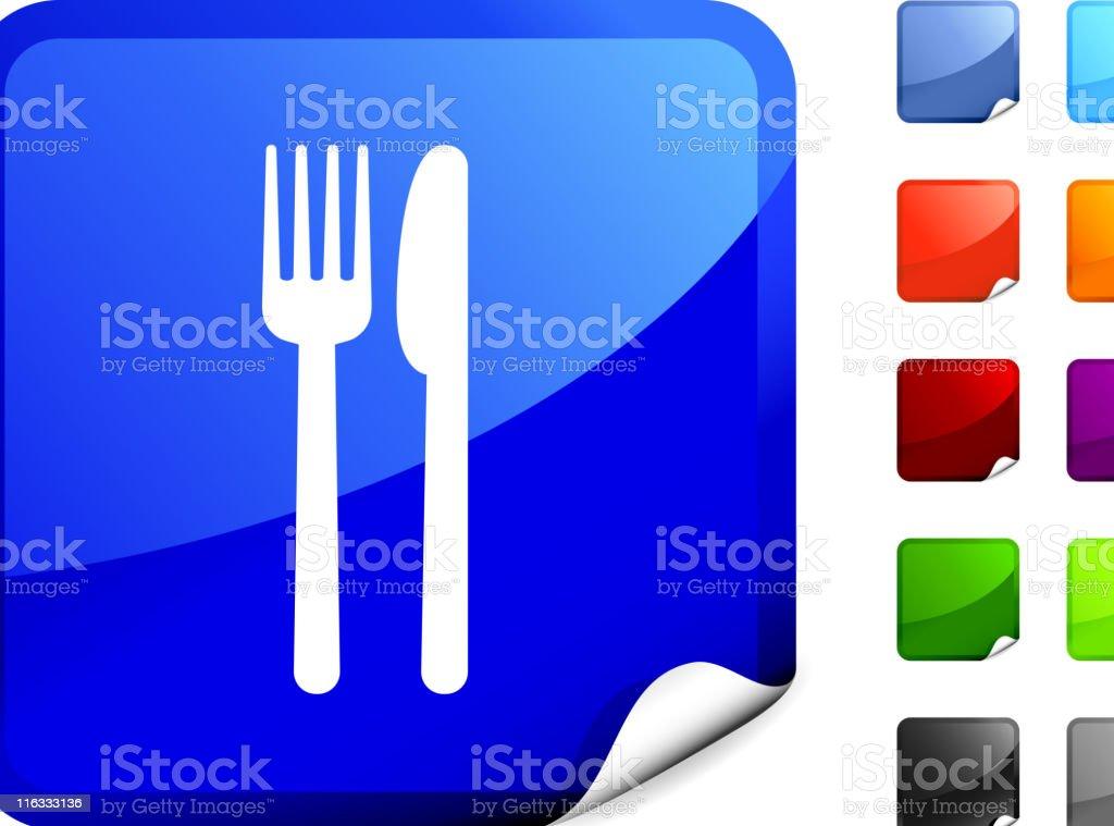 Food, fork, knife royalty free vector art on Blue Sticker royalty-free stock vector art