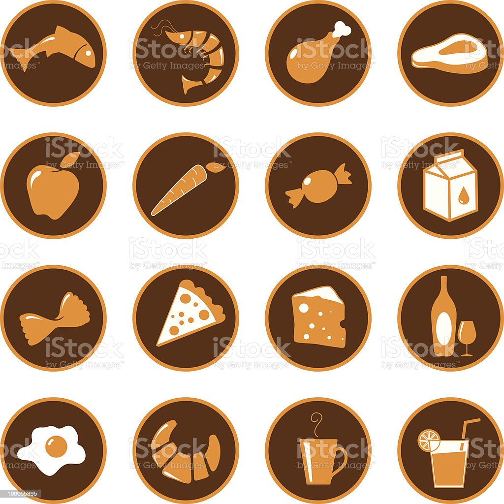 Food grocery icons royalty-free stock vector art