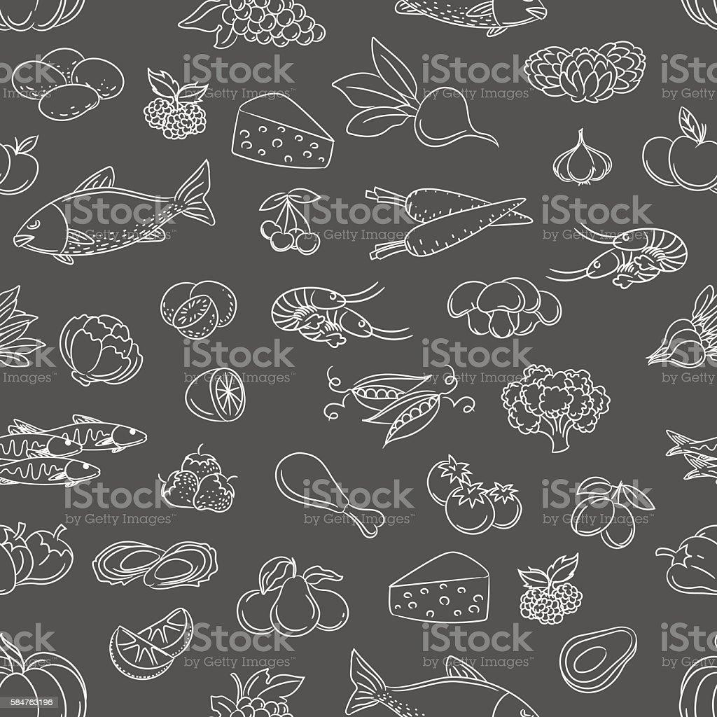 Food hand drawn icons seamless pattern vector art illustration