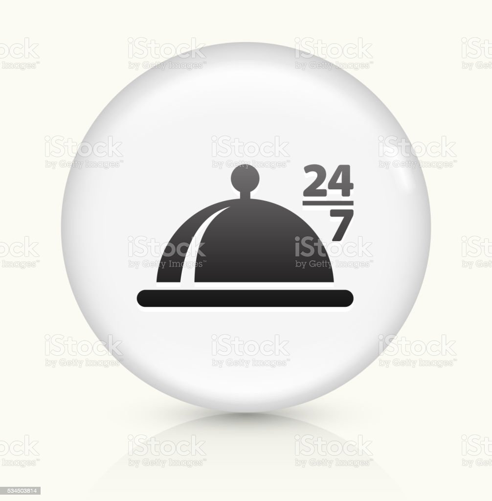 24/7 Food icon on white round vector button vector art illustration