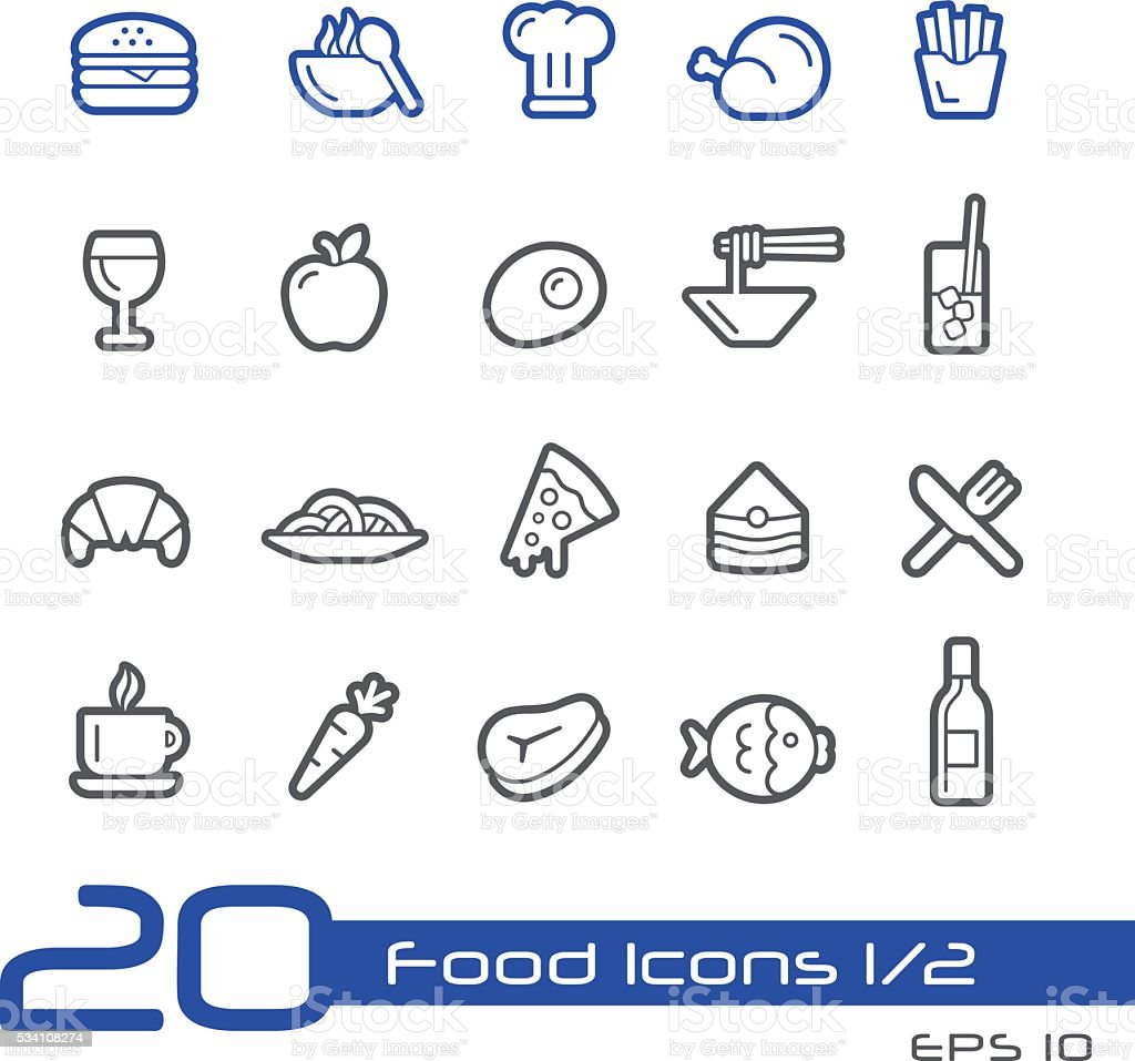 Food Icon Set 1 of 2 - Line Series vector art illustration