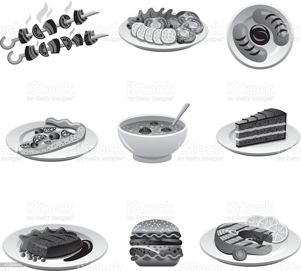 food icon set grayscale royalty-free stock vector art