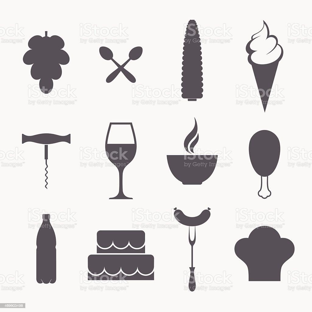 Food. Icon set vector art illustration