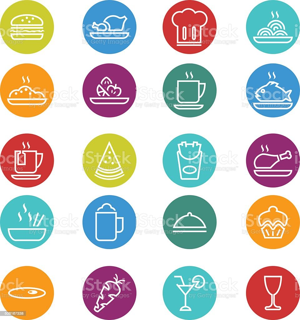 Food icon set vector art illustration