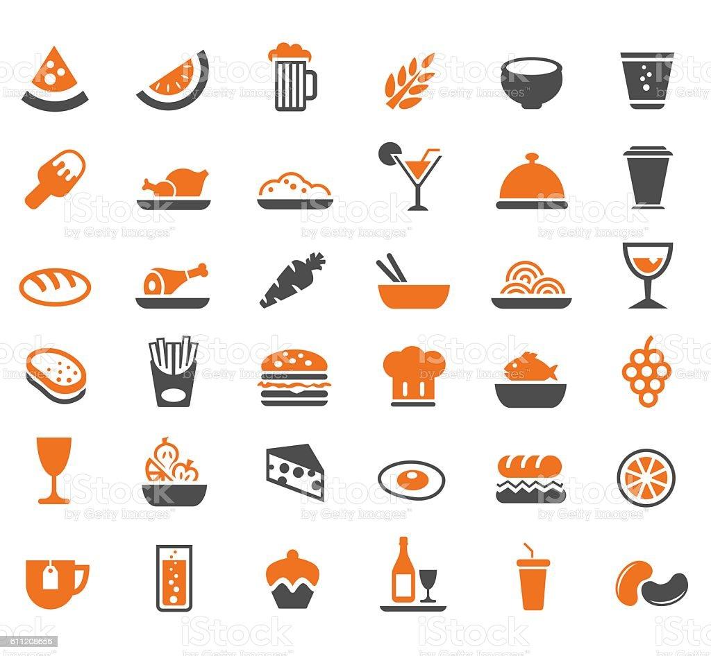 Food icon set vector art illustration