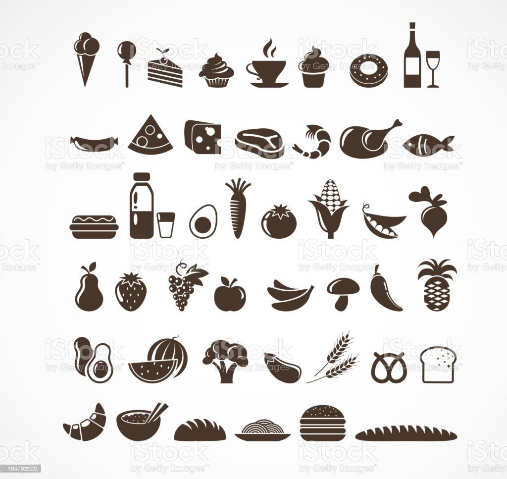 Food icons and elements vector art illustration