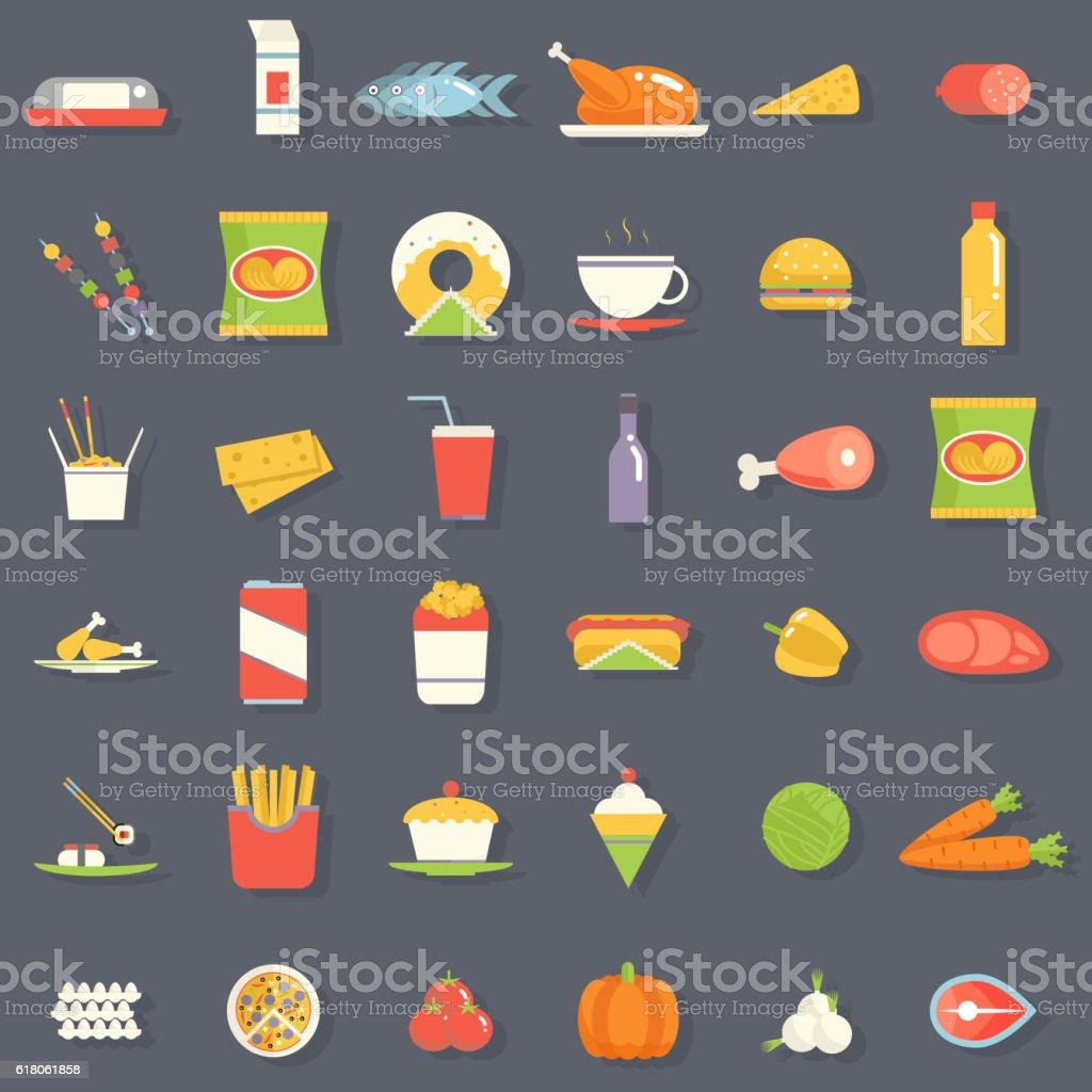 Food Icons and Symbols Set Retro Flat Vector Illustration vector art illustration