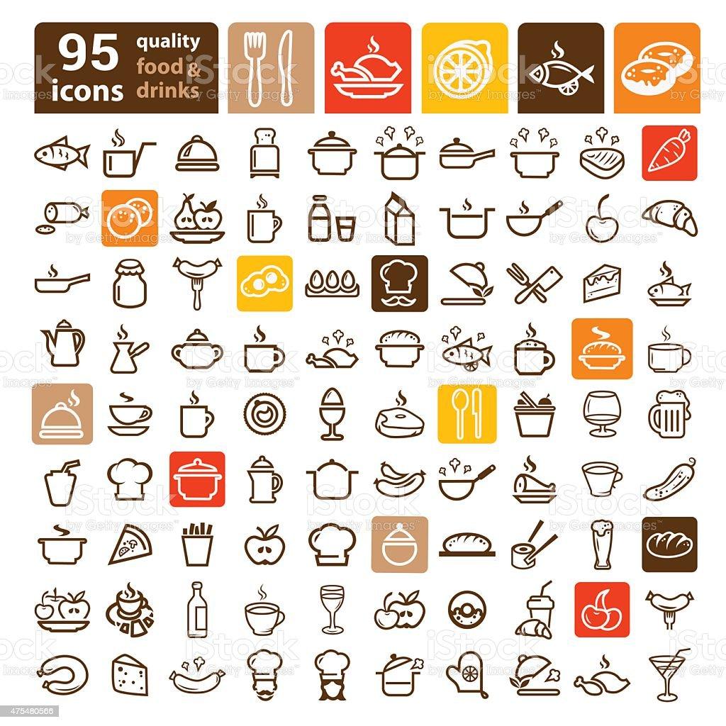 food icons big set vector art illustration