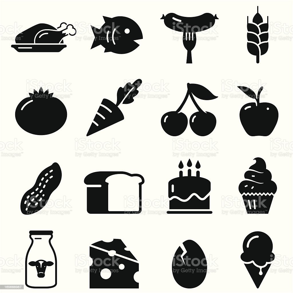 Food Icons - Black Series vector art illustration