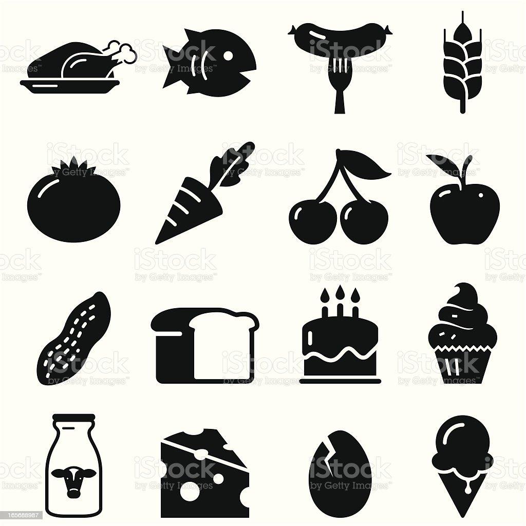 Food Icons - Black Series vector art illustration