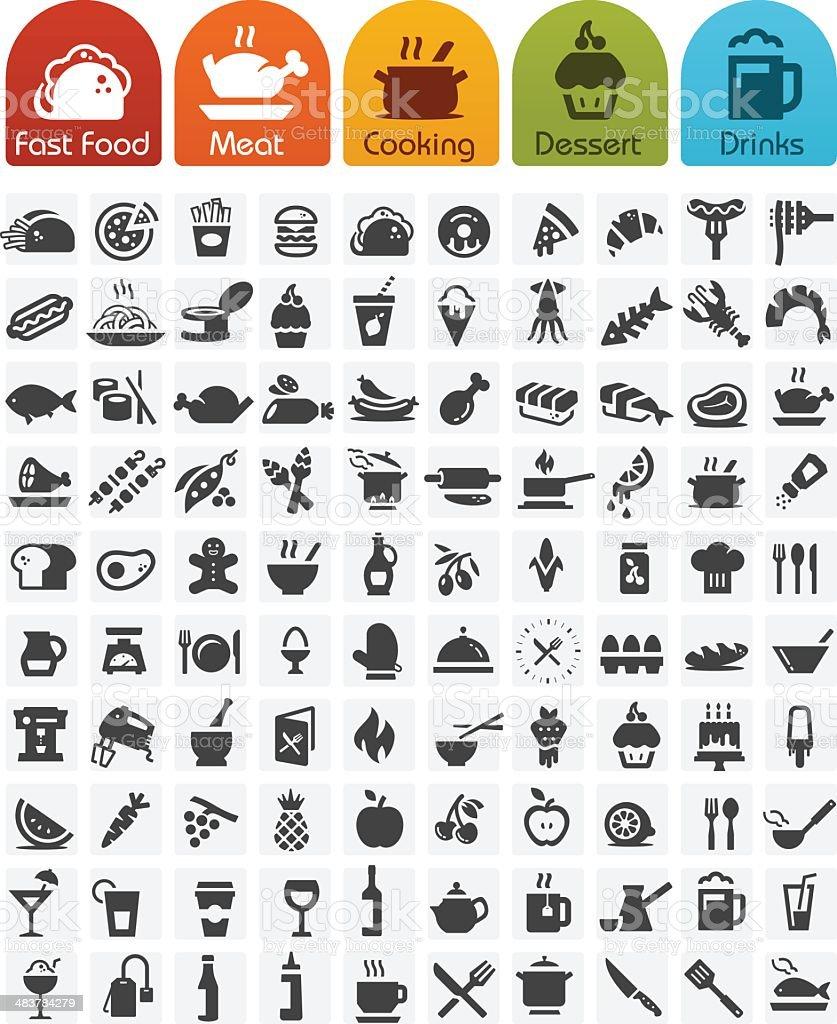 Food Icons bulk series - 100 icons vector art illustration