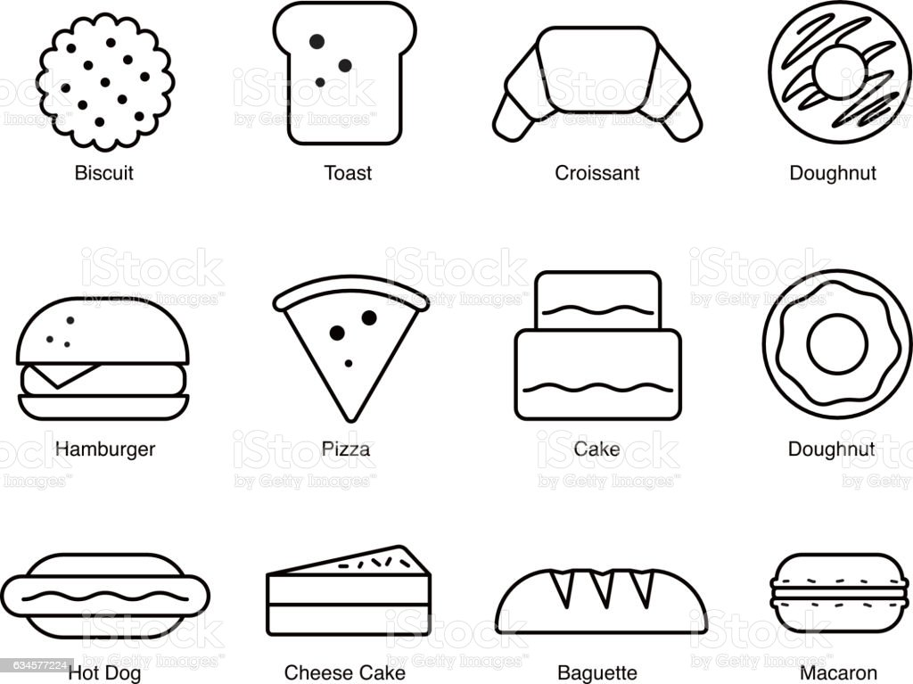 Food icons, depicting breaded goods vector art illustration