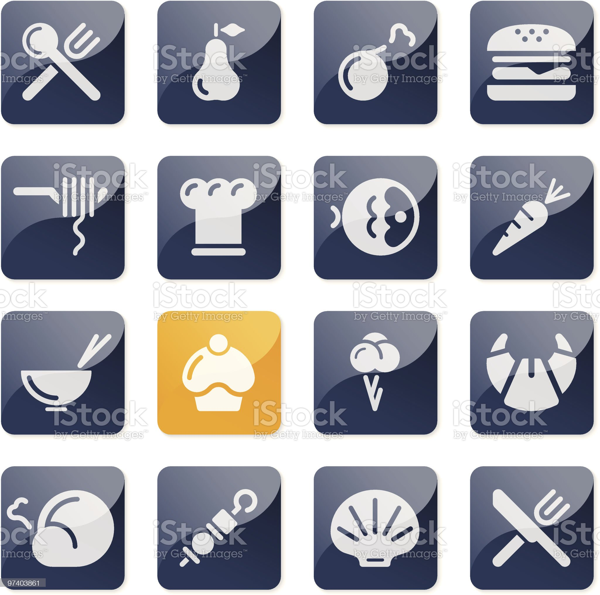 Food icons | glossy series royalty-free stock vector art