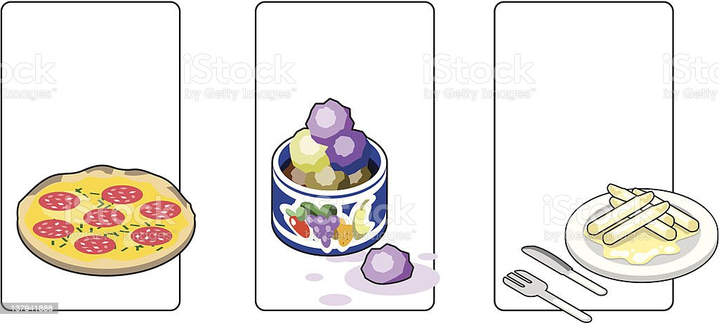 Food icons like pepperoni pizza ice cream scoops in cup. vector art illustration