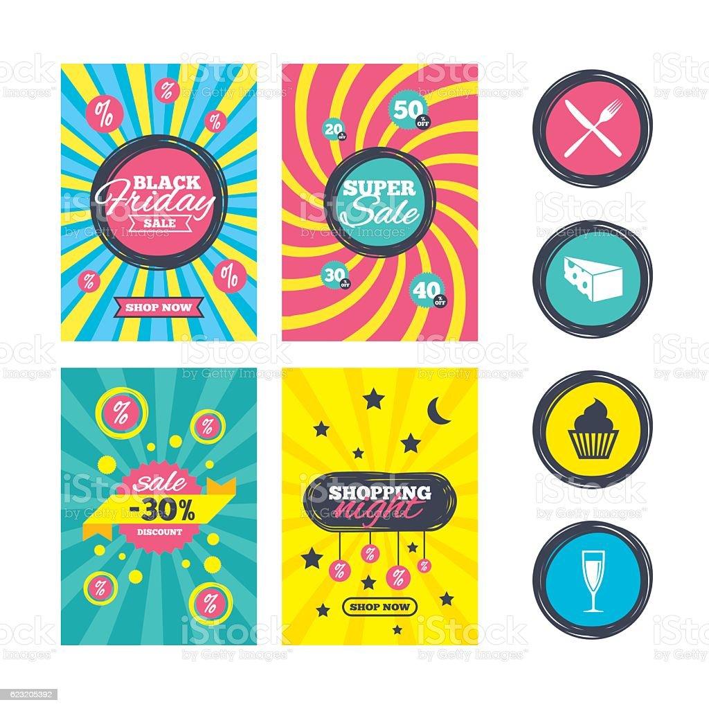 Food icons. Muffin cupcake symbol. Fork, knife. vector art illustration