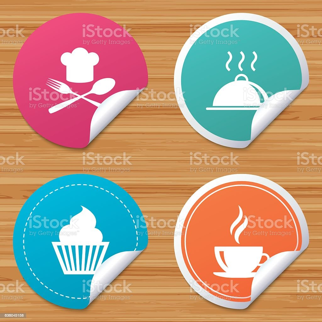 Food icons. Muffin cupcake symbol. Fork, spoon. vector art illustration