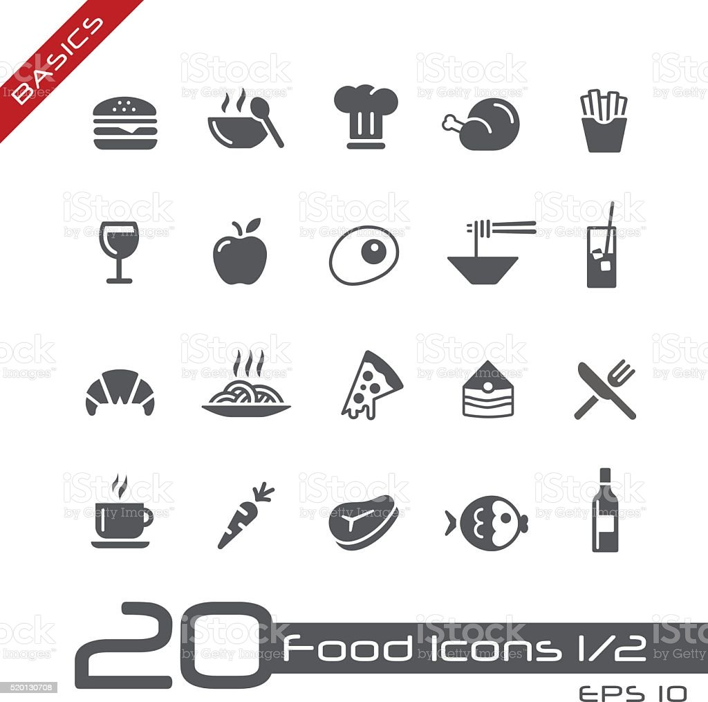 Food Icons Set 1 of 2 - Basics vector art illustration
