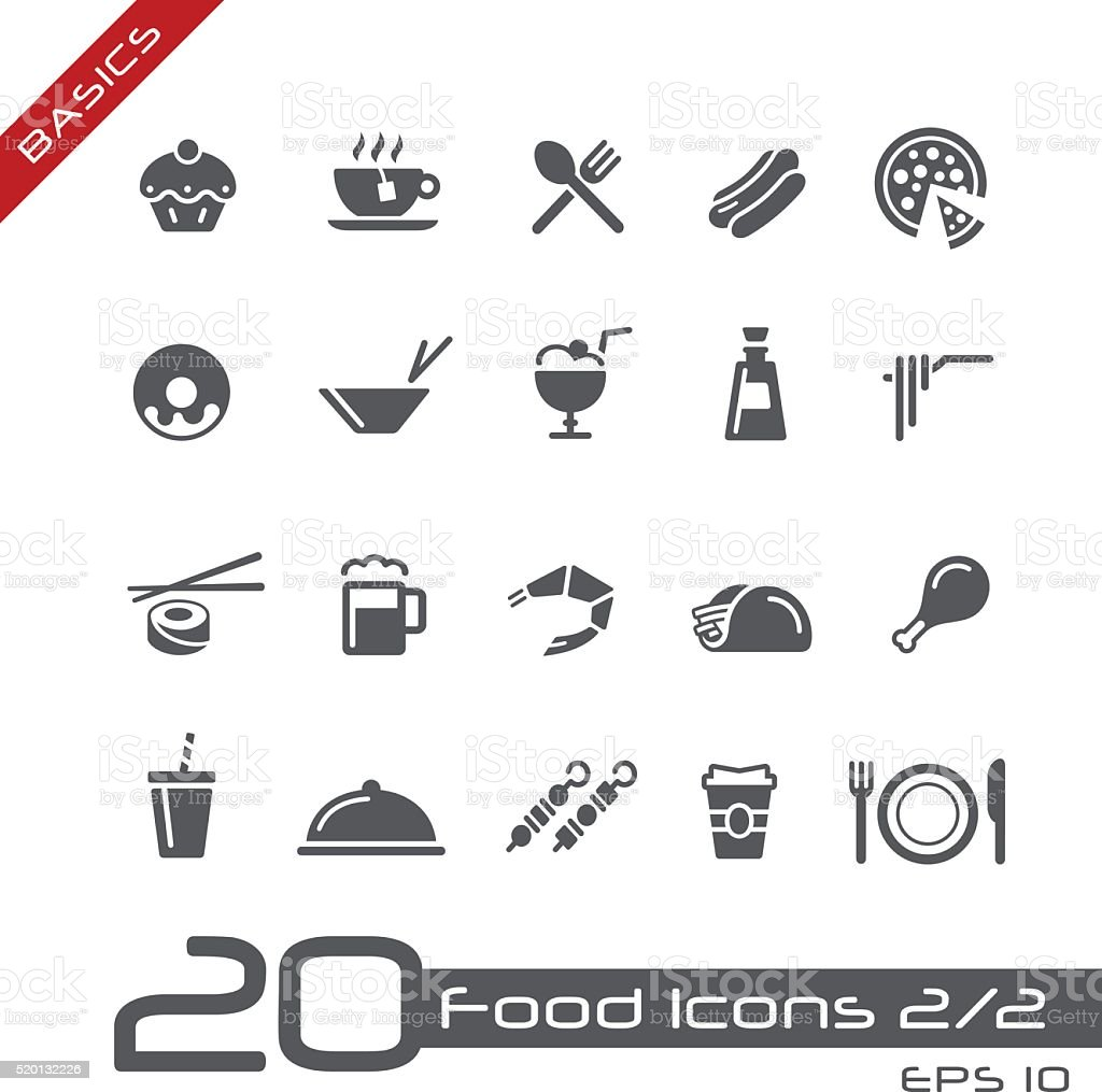 Food Icons Set 2 of 2 - Basics vector art illustration